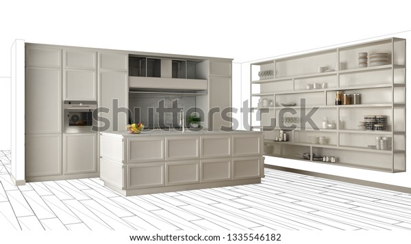 Modern White Kitchen Island Contemporary Luxury Stock