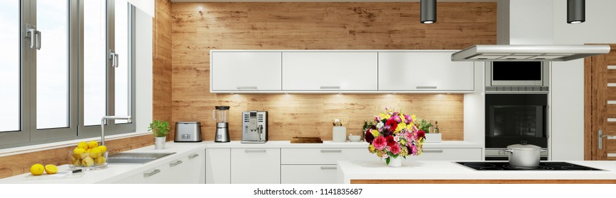 Modern white kitchen with window as a panorama (3D Rendering)