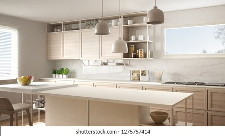 Modern white kitchen with wooden details and parquet floor, modern pendant lamps, minimalistic interior design concept idea, island with stools and accessories, 3d illustration