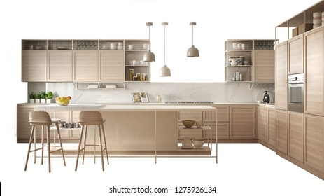 Modern white kitchen with wooden details, island with stools, interior design concept idea, isolated on white background with copy space, minimalist furniture, 3d illustration