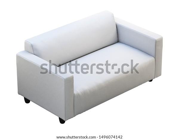 Modern White Leather Twoseat Sofa Leather Stock Illustration