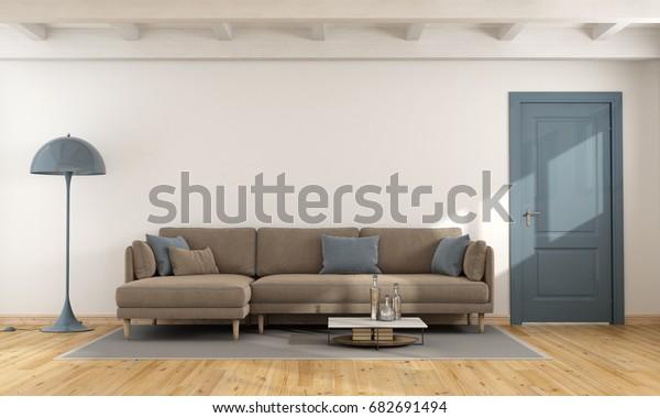 Modern White Living Room Brown Blue Stock Illustration 682691494