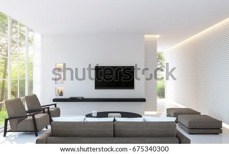 Modern White Living Room Decorate Wall Stock Illustration 675340300 ...