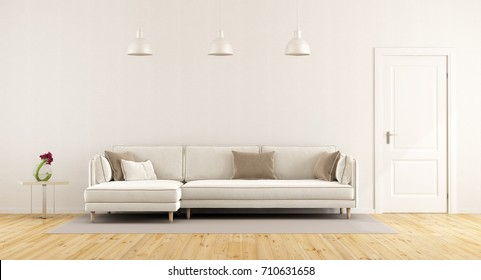 Modern white living room with elegant sofa and closed door - 3d rendering
