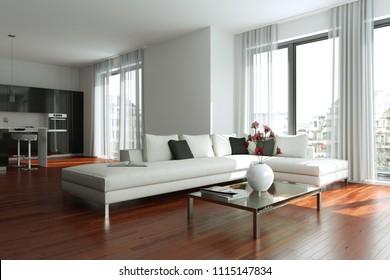 modern white gray living room interior em ilustração stock 603249098