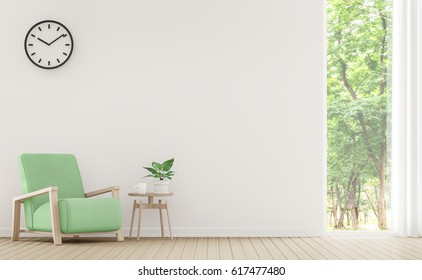 Modern white living room with pastel furniture 3d rendering image.There are window overlooking the surrounding nature and forest