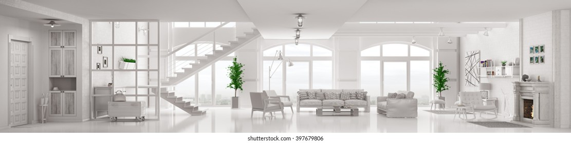 Modern white loft apartment interior, living room, hall, staircase, fireplace  panorama 3d rendering