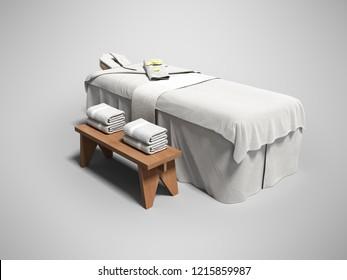 グレイの背景にシャドウと折り畳んだタオルと現代の白いマッサージベッドと3D