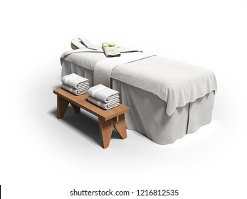 Modern white massage bed with folded towels right side 3d render on white background with shadow