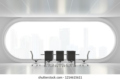 Modern white meeting room 3d render,There are white floor.Furnished with black furniture .There are arch windows look out to see the city view background.