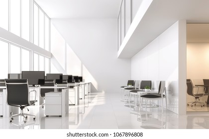 Modern white office 3d render.The room has a high ceiling and a mezzanine.Furnished with black furniture .There are large windows looking out to see the scenery outside.