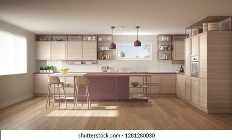Modern white and red kitchen with wooden details and parquet floor, modern pendant lamps, minimalistic interior design concept idea, island with stools and accessories, 3d illustration