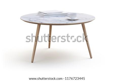 Modern White Round Coffee Table On Stock Illustration Royalty Free