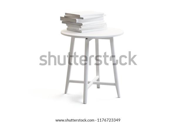 Modern White Round Coffee Table Books Stock Illustration 1176723349