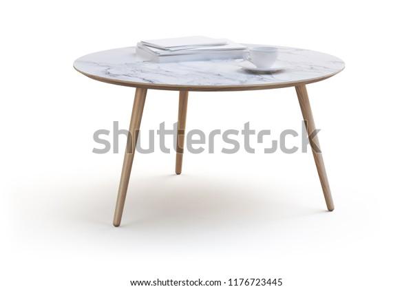 Modern White Round Coffee Table On Stock Illustration 1176723445