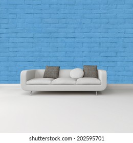 Modern white sofa with grey cushions against a bright blue wall on a white floor with skirting board in an architectural and interior decor background