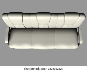 Modern white suede couch isolated on light background. Cutout object. Top view. 3D illustration