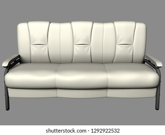 Modern white suede couch isolated on light background. Front view. Cutout object. 3D illustration