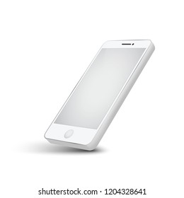 modern white telephone on white background, Smartphone mobile digital technology isolated.