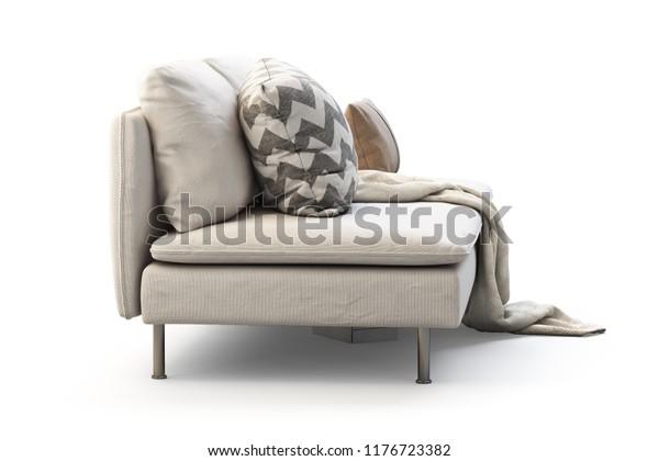 Pleasant Modern White Textile Sofa Pillows Plaid Stock Illustration Dailytribune Chair Design For Home Dailytribuneorg