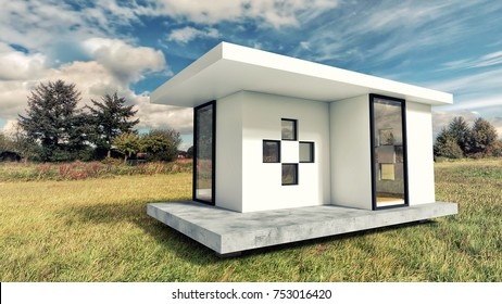 Modern White Tiny House Exterior with Landscape Background  3D Illustration