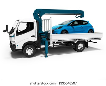 Modern white tow truck with blue crane with loaded car in trailer 3d render on white background with shadow