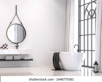 Modern white vintage bathroom 3d render, With white plank walls, white glossy floor and marble countertops, Rooms have large windows, Natural light shines inside.
