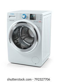 Modern white washing machine. Object isolated on white background 3d