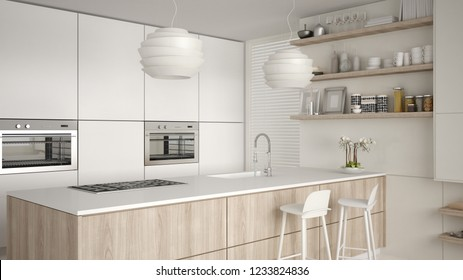 Modern white and wooden kitchen with shelves and cabinets, island with stools. Contemporary living room, minimalist architecture interior design, 3d illustration