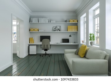 Modern white yellow home office with sofa interior design 3d Rendering mockup