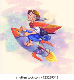 The modern Witch. Funny illustration of a witch riding a rocket. Colorful digital painting imitating watercolor.