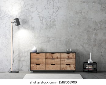Modern wooden bureau mockup in empty living room with concrete wall and floor lamp, 3d rendering