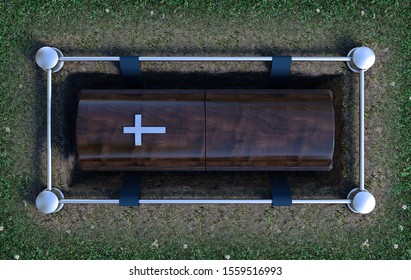 A modern wooden coffin at a funeral being lowered into a grave with a lowering mechanism a dirt and grass background - 3D Render