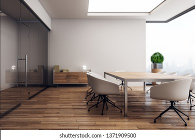 Modern wooden conference room interior with panoramic city view and decorative plant. 3D Rendering