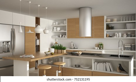 Modern wooden kitchen with wooden details, close up, island with stools, white minimalistic interior design, 3d illustration