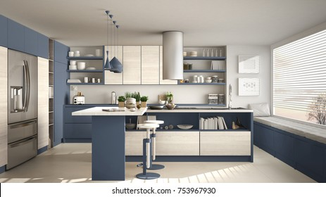 Modern wooden kitchen with wooden details and panoramic window, white and blue minimalistic interior design, sunset sunrise panorama, 3d illustration