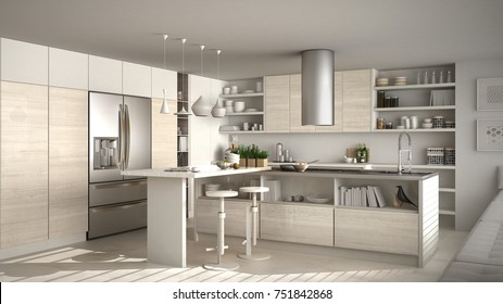 Modern wooden kitchen with wooden details, white minimalistic interior design, 3d illustration