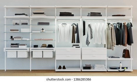 modern wooden and metal wardrobe with men clothes hanging on rail in walk in closet design interior, 3d rendering