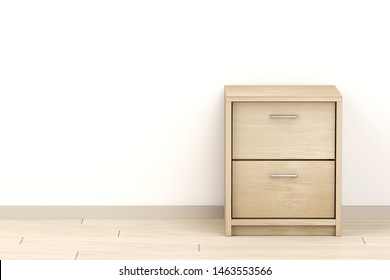 Modern wooden nightstand in the room, 3D illustration