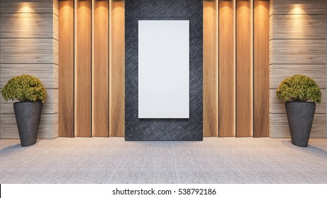 modern wooden panel wall decor design idea with plant and carpet 3D rendering by Sedat SEVEN