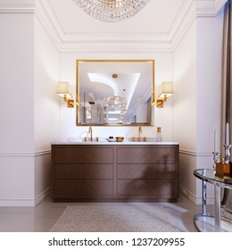 Modern wooden vanity with a mirror in a gold frame and sconces on the wall, a low table with decor and a rug with a chandelier. 3d rendering.