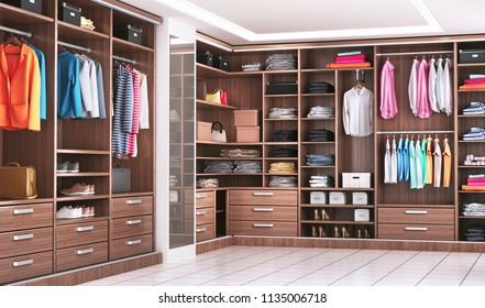 Modern wooden wardrobe with clothes hanging on rail in walk in closet design interior. 3d illustration