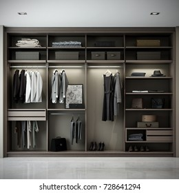 Modern wooden wardrobe with clothes hanging 3D render