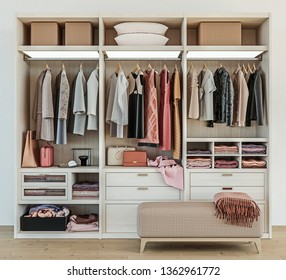 modern wooden wardrobe with women clothes hanging on rail in walk in closet,  Scandinavian style, tidily packed, 3d rendering