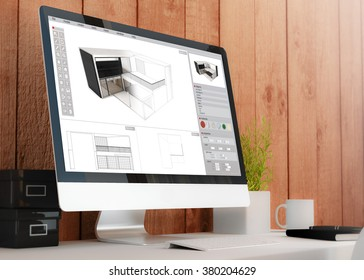modern wooden workspace with computer showing house project. All screen graphics are made up. 3D illustration.