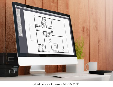 modern wooden workspace with computer-aided design software. All screen graphics are made up. 3D rendering