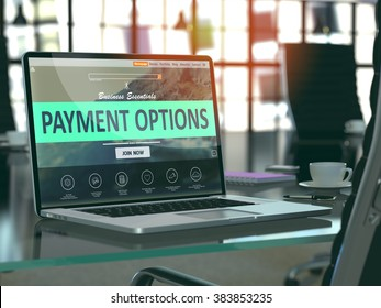 Modern Workplace with Laptop showing Landing Page with Payment Options Concept. Toned Image with Selective Focus. 3D Render.