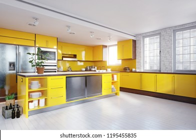 modern yellow color kitchen interior. 3d rendering design concept