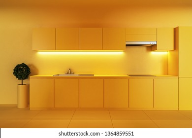 Modern yellow kitchen interior with decorative plant. 3D Rendering