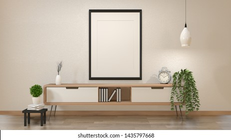 Modern zen interior of japanese living room with wooden cabinet and mock up poster 3d rendering